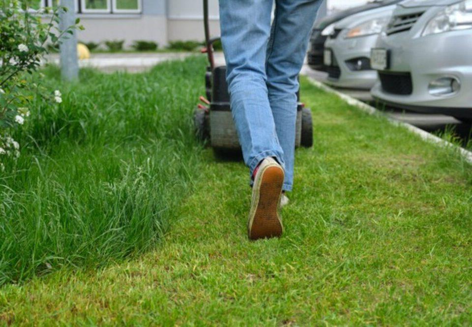 usar cortador de grama